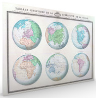 Tableau Synoptique de la Sphericite d la Terre Vintage Stretched Canvas