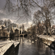 Bruges in Christmas Dress by Yvette Depaepe Art Print