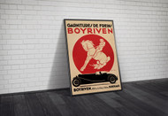 Boyriven Brake Linings Advertising Poster c1930 Framed