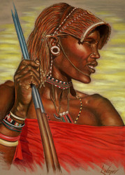 Masai Warrior by Lori Watson African Art