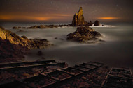 The Reef of the Sirens Night by Martin Zalba Seascape Print