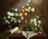 Still Life with Roses and Candle by Andrey Morozov Floral Print