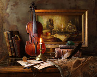 Still Life with Violin and Painting by Andrey Morozov Art Print