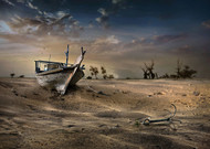 Ship in the Desert by Sulaiman Almawash Surrealism Print
