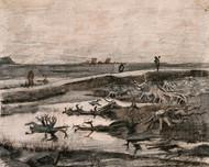 Vincent van Gogh Print Landscape with Bog Trunks Travaux Aux Champs