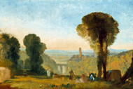 William Turner Print Italian Landscape with Bridge and Tower