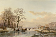 A Frozen Canal near the River Maas by Andreas Schelfhout