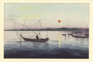 Boats and Sunset by Ohara Koson Seascape