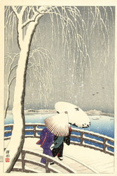 Japanese Print In the Snow at Ueno by Watanabe Shozaburo 1927 Art
