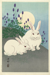 Japanese Print Rabbit at Full Moon by Ohara Koson Art
