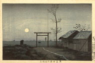 Japanese Print The Taro Inari Shrine in the Rice Fields to Asakusa by Kobayashi Kiyochika Art
