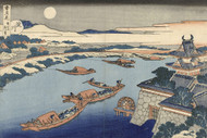 Japanese Print The Yodo River in Moonlight by Katsushika Hokusai Art