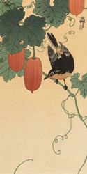 Bird and Khaki by Ohara Koson Japanese Woodblock