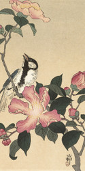 Bird with Pink Flowers Japanese Woodblock