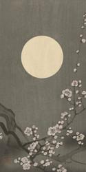 Blossoming Plum Blossom at Full Moon by Ohara Koson Japanese Woodblock