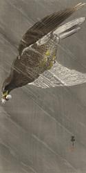 Downward Flying Eagle by Ohara Koson Japanese Woodblock