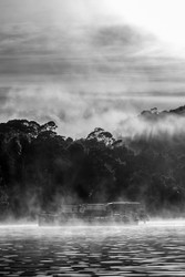 River Cruiser in The Mist by Andrew Wilson Seascape Print