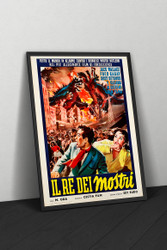 Godzilla Raids Again Gigantis The Fire Monster 1957 Italian Movie Poster Framed