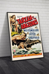 Tarzan And The Amazons 1940s Belgian Framed Movie Poster Framed