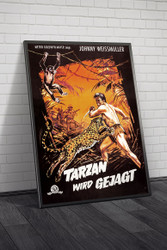 Tarzan And The Huntress 1960s German Movie Poster Framed