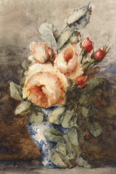 Boquet Roses In Vase By Adrienne Jacqueline Jacob Floral Print