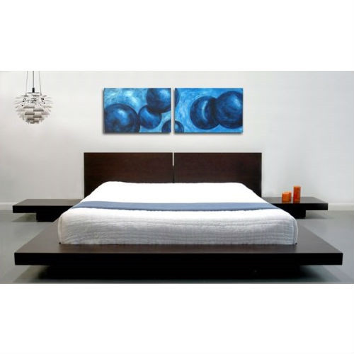 King size Japanese Style Platform Bed w/Headboard and 2 Nightstands, Espresso KMFB51984151