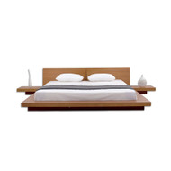 King size Modern Japanese Style Platform Bed w/Headboard/2 Nightstands in Oak KMPBO85198415