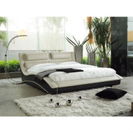 CA King Modern Faux Leather Upholstered Platform Bed w/Headboard in Cream Black NCBCAK519841