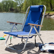 Royal Blue Beach Chair Recliner with Backpack Carrying Straps RBC5189841