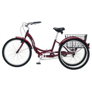 Black Cherry Single Speed Adult 3-Wheel Cruiser Bike Tricycle with Basket SMST658451