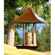 Metal and Glass Asian Style Bamboo Wild Bird Feeder HPBF119