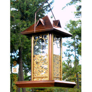 Metal and Glass Bird Feeder with Antique Copper Finish PHRBF69