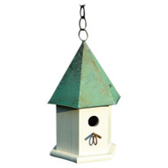 White Wood Bird House with Verdi Green Copper Roof - Made in USA GWBH7746