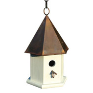 White Wood Songbird Birdhouse with Brown Copper Roof HCSWBH7746