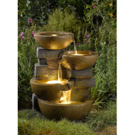 Indoor / Outdoor 4-Tier Pots Water Fountain with LED Lights PFT1507