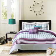 Full/Queen 5-Piece Comforter Set in Purple White Teal Circles & Stripes HFQC59491