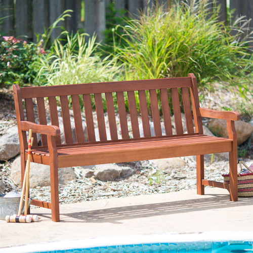 4-Ft Outdoor Love-seat Garden Bench in Natural Wood Finish CHGB54878915