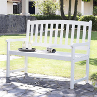5-Ft Wood Garden Bench with Curved Slat Back and Armrests in White CPCBW1516981