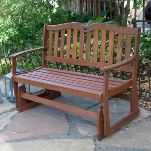 4-Ft Outdoor Loveseat Garden Bench Glider with Armrests in Natural Wood Finish JMA18985422