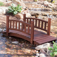 4-Ft Garden Bridge in Red Shorea Wood with Protective Oil Finish BLRGB54846