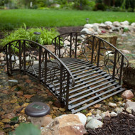4-Foot Steel Frame Metal Garden Bridge in Rustic Weathered Black Finish CMGB5187741