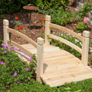 4-Ft Garden Bridge with Railings in Weather Resistant Fir Wood GB14846151