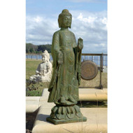 Buddha Standing on Lotus Flower Garden Statue Cast in Quality Resin DEBG168155
