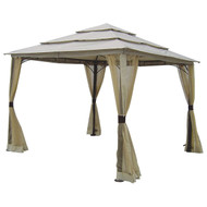 10-ft x 10-ft Outdoor Steel Frame Gazebo with Mosquito Netting Screen and Canopy TGDCA1985181