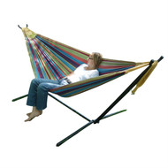 Tropical Fabric Double Hammock with 9-Foot Steel Stand VDHWS133