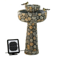 2-Tier Outdoor Cobblestone Solar Powdered Water Fountain TCSWF152