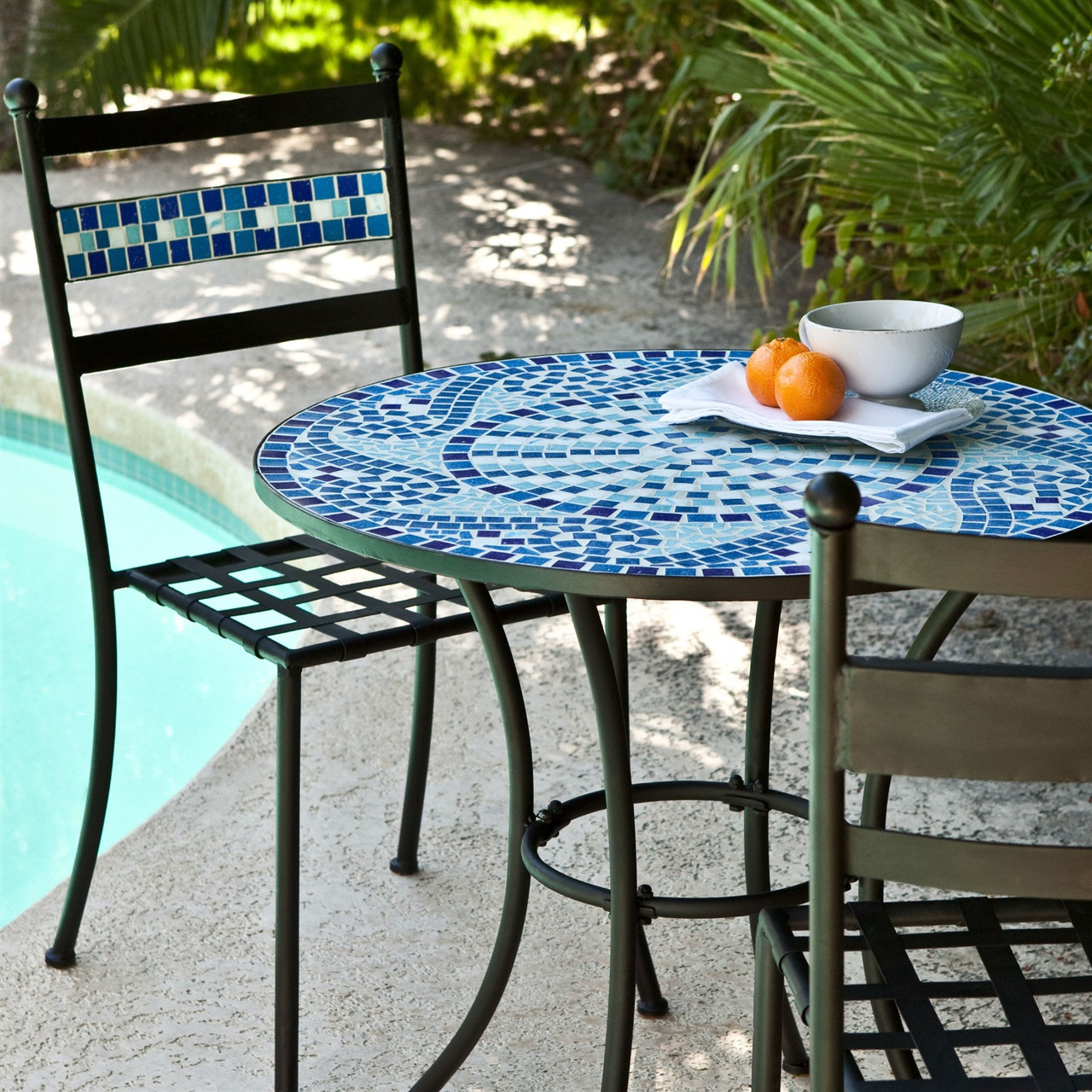 Outdoor 3 Piece Aqua Blue Mosaic Tiles Patio Furniture