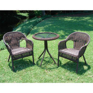 Outdoor Wicker Resin Patio Furniture Bistro Set in Mocha SWRP3401