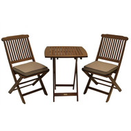 3-Piece Bistro Style Outdoor Patio Furniture Chair Table Set with Cushions ESB165153