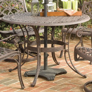 42-inch Round Patio Dining Table in Rust Brown Metal with Umbrella Hole RBMPT8968418